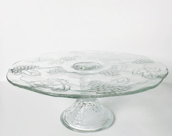 Vintage Clear Glass Grape Leaf Pedestal Cake Stand