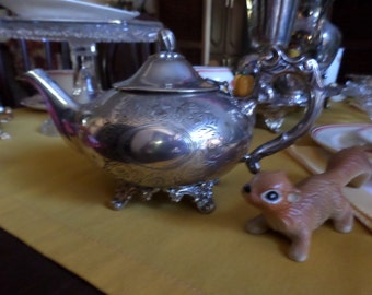 Gorgeous EPNS-Silverplate on Copper Hinged Lid Acorn FInial Teapot/Coffee Pot-Ornate Embossed Floral Design