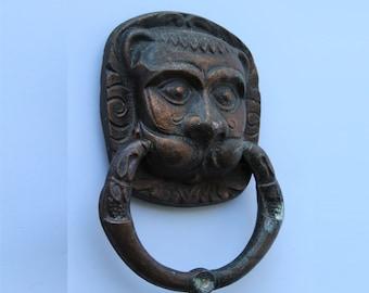 Soviet Vintage Door Handle Lion. Vintage Lion Face Door Handle. Lion. Knocker. Retro Door Handle. Antique Knocker