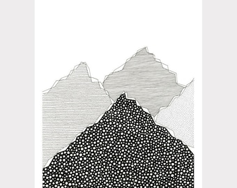 SALE / Mountain print / Snow mountains / A4 print / Art print / Illustration / Contemporary art / Christmas art