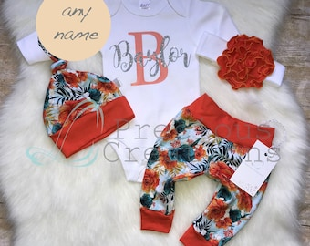 Baby Girl Coming Home Outfit Baby Girl Monogrammed Bodysuit Personalized Outf Photo Prop Personalized Baby Outfit Orange Floral Outfit
