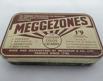 Vintage Brown Meggezones Pastilles Tin
