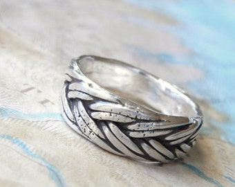 Nautical Braided Silver Ring, Nautical Jewelry, Nautical Braided Ring, Nautical Chic Braided Silver Ring Size 4 5 6 7 8 9 10 11 12 13 14 15