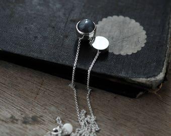 Grey Moonstone ball-like pendants silver necklace