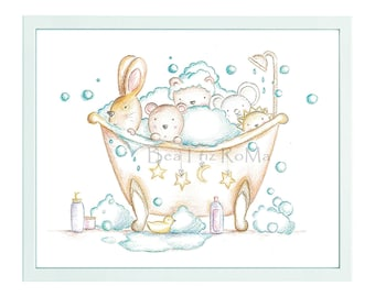 "Children's illustration ""My Animals a bubble bath."" Printed sheet. Children's table."