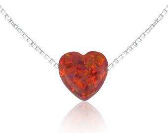 Opal Heart Necklace, The Perfect Love Gift Statement • Safe to Wet • The Ideal Love Gift to Give or Keep