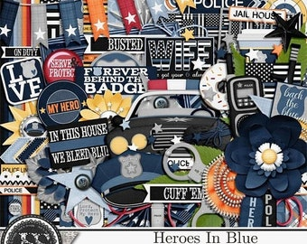 On Sale 50% Heroes In Blue Police12x12 Digital Scrapbook Kit for Digital Scrapbooking
