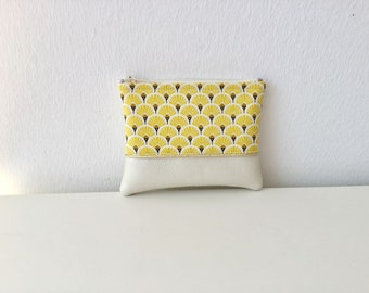 GINKGO yellow woman zipper wallet, wallet with faux leather fabric and beige yellow, plant, leaf