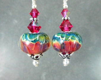 Ruby Red Emerald Green Glass Crystal & Sterling Silver Dangle Earrings, Boho Chic Jewelry, Gypsy Earrings, Boro Lampwork, Art Glass Jewelry