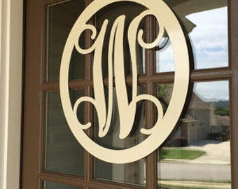 "24"" MONOGRAMMED Door Wreath/ Monogram Door Hanger/ Metal Monogram /  Personalized Gift/Front Door Wreath/Sign/ Initial Door Wreath"