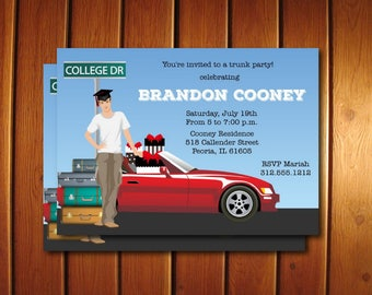 Male college Trunk Party Invitations, Printable Graduation Announcement