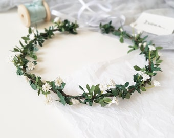Baby breath flower crown Baby breath headpiece Babys breath hairpiece Baby's breath greenery flower crown Bridal boho crown Greenery halo