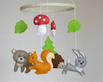 Sale - 20%  Woodland baby mobile, woodland nursery mobile , Baby Crib Mobile, Bear Bunny hedgehog squirrel mobile,  Felt forest friends