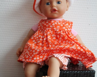 Doll Dress: orange dress with pants and hat