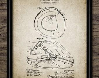Baseball Catchers Mitt Patent Print - Baseball Glove Art - 1905 Baseball Design - Printable Art - Single Print #1469 - INSTANT DOWNLOAD