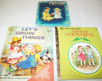SALE - 3 Vintage Books, Let's Grow Things, A Book of God's Gifts, Prayers