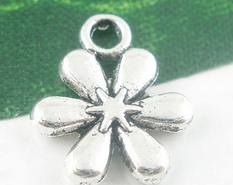 50 charms 6 antique silver petals