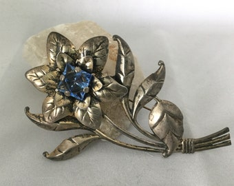 Sterling Silver Sapphire Crystal Brooch