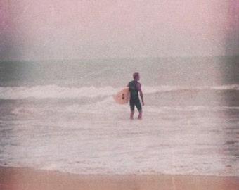 Surf Art Beach Print - Pastel Pink Aqua Soft Surfing Beach House Wall Decor Photograph