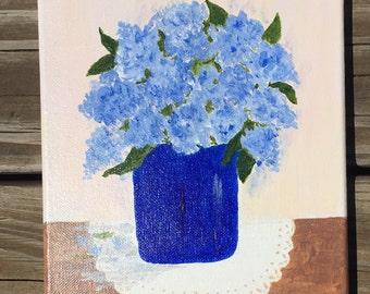 Blue Lilacs, original acrylic painting, 8x10 original painting,