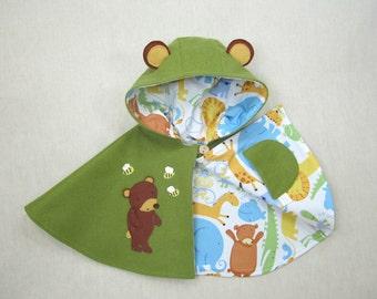 Children Capelet - Bear,  Cape, Poncho, Jacket, Baby, Children, Handmade, Gift