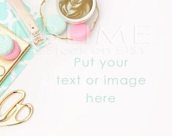 Styled Stock Photography / Styled Desktop  / Blog Background / Macaroons / Gold Desk / JPEG Digital Image / StockStyle-522