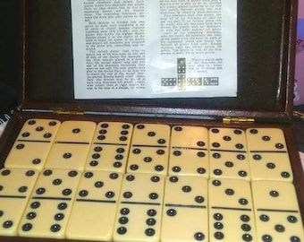 Dominoes Vintage Full Set with Leather Bound Box