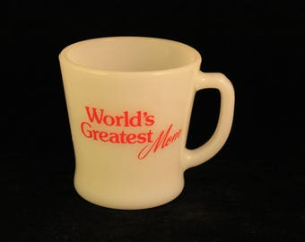 "Vintage ""World's Greatest Mom"" White Milk Glass Coffee Mug Tea Cup Anchor Hocking Red Pyro Print!"