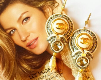 Soutache  Ohrringe aus  authentische Knöpfe.Statement earrings