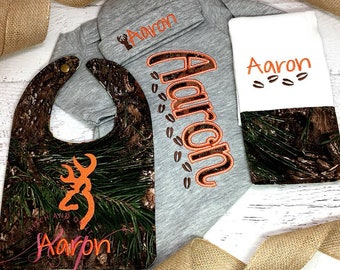 Baby Coming Home Outfit - Camo Baby - Hunter  - Layette -  Baby Boy Coming Home Outfit - Newborn Hospital Gown - Personalized Shower Gift