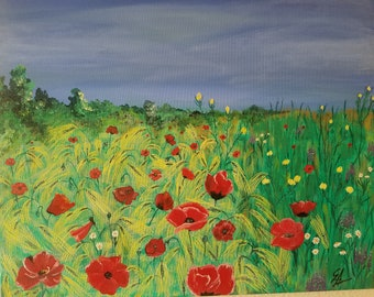 Original painting - Red poppy on wheat field