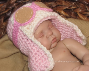 Newborn Baby Girl Aviator Hat w Goggles - Fly - Airplane Hat - Photo Prop - ANY Colors - Earflap Hat