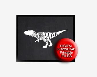 Printable Meat Cuts Print Dinosaur Butcher Chart A4 A3 5x7 8x10 11x14 16x20