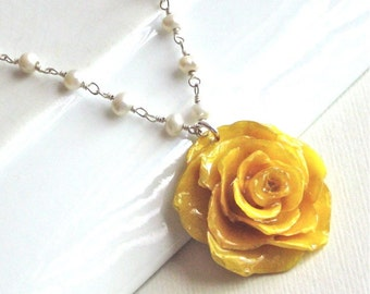 Real yellow rose necklace sterling silver natural preserved real yellow rose necklace real flower jewelry preserved jewelry floral jewelry pearl necklace nature jewelry mozeypictures Image collections