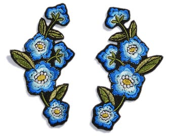 Iron On Embroidered Flower Patch, 2 PCS. Mirror Floral Patches, Blue Flower Applique, Iron on Applique Patches, Various sizes and colors