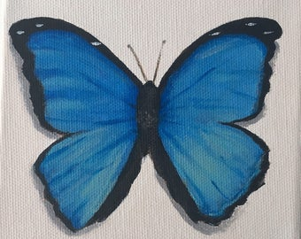 Mini Butterfly Acrylic Painting 5x5""