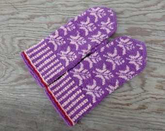 mittens, hand knitted latvian mittens, colorful winter gloves, knit fair isle arm warmers, knitting accessories, purple pink wool mitts