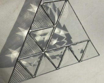 Stained glass triangle of triangles in clear beveled glass