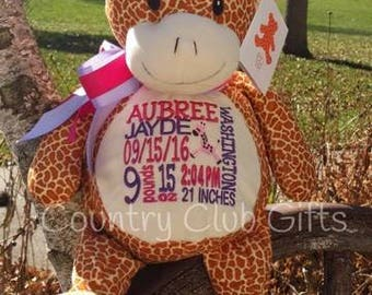 personalized baby gift, birth stat Giraffe, stuffed Giraffe, Birth announcement, Gift, Baby Shower Gift, Baby Girl, baby boy, new mom