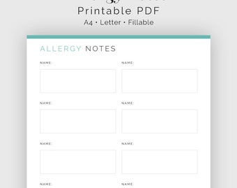 Allergy Notes - Fillable - Food & Medicine Allergies - Household Binder, Menu Plan - Printable PDF - 3 colours - Instant Download