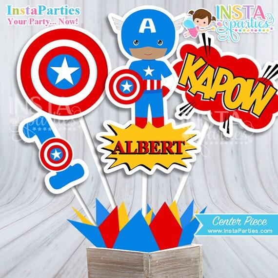 Centro De Mesa Capitán América: Centro De Mesa Capitán America Centro Mesa Superhéroes Niño