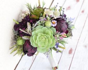 AMAZING Plum Wedding Silk Succulent, Peonies, Dahlias and Sprays Silk Flower Bride Fall Rustic Bouquet