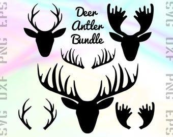 Deer Antler SVG Files - Antler Dxf Files - Deer Clipart - Antler Cricut Files - Antler Cut Files - Antler Silhouette - Svg, Dxf, Png, Eps