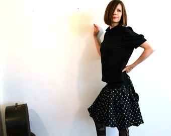skirt black with white dots