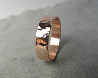 Beautiful Hammered Copper Ring Polished or Matte Finish Made to Order Engraving Options