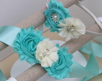 Aqua dress sash, aqua headbands, aqua flower girl dress sash, mint blue dress sash, aqua ribbon sash, aqua flower headband, blue dress sash