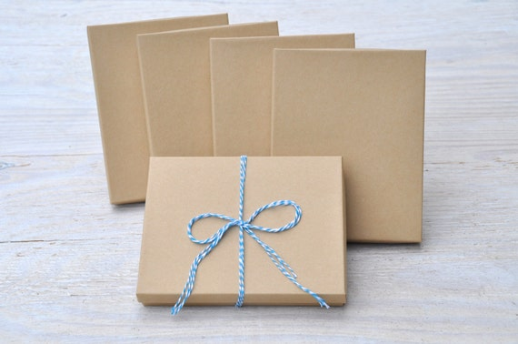 10 Kraft 7x55x1 Gift Jewelry Necklace Boxes with Cotton Fill