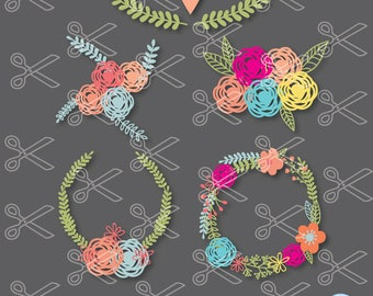 Floral Wreath SVG, PNG, DXF, Eps Cutting Files, wreath svg, flower svg, laurel svg cut file, monogram frame svg, laurel wreath svg, wedding