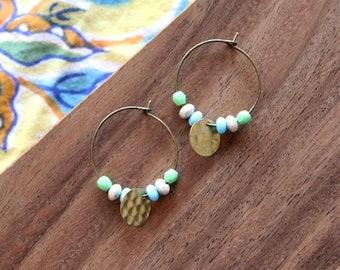 vintage hammered brass and multi czech glass hoop earrings