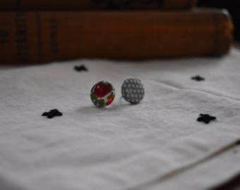 Mismatch Floral Fabric Button Earrings, Mid-century Modern, 12 mm